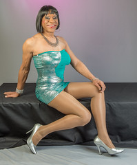 Sparkly Green With A Smile! (kaceycd) Tags: pumps highheels s tgirl stilettoheels cleancut pantyhose crossdress spandex lycra tg stilettos minidress platino tubedress sexypumps stilettopumps 15denier