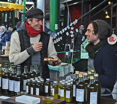 I told you they were nice!!! (MWBee) Tags: london hat scarf nikon wine bottles market smiles boroughmarket d5000 mwbee