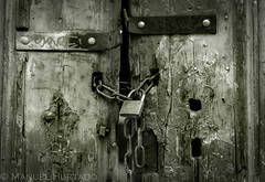 Locked Gate (ManuelHurtado) Tags: door wood old house texture metal closeup vintage private wooden ancient rust gate key iron lock antique steel grunge entrance rusty places security dirty safety countries doorway weathered secure aged sk rough protection padlock bratislava eslovaquia regindebratislava