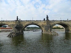 DSCN6655 (raveskins) Tags: sky nature river boat czech prague statues czechrepublic charlesbridge vltava