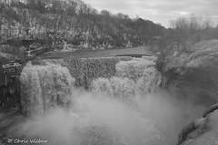 Lower Falls - Rochester, NY (awaketoadream) Tags: new york winter usa white ny black water river waterfall state large monotone niagara falls rochester lower genesee escarpment