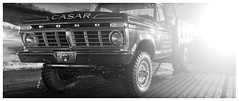Fire Truck (daveelmore) Tags: bw ford night truck blackwhite 4x4 firetruck vehicle dually f250 stitchedpanorama lumixleicadgsummilux25mm114 casarvfd