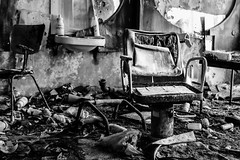 A bit off the top (Flash and Blur) Tags: blackandwhite bw monochrome chair radioactive hairdressers chernobyl pripyat nucleardisaster