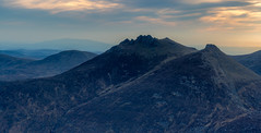 Slieve Beg and Cove Mountain peaks (Glen Sumner Photography) Tags: blue ireland panorama mountains color colour nature newcastle landscape landscapes peak summit northernireland countydown mournes slievecommedagh mournewall