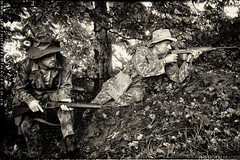 1st BEP, 1950 Impression (zoomerphil) Tags: france monochrome french soldier gun foreign reenactment legion