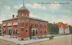 Post Office and Public Library, Kalamazoo, Mich., Front (kplcommons) Tags: street brick architecture michigan library postcard postoffice kalamazoo buidling unitedstatespostalservice kalamazoopubliclibrary