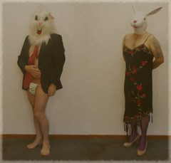 mr and mrs bunny  121/366 (horsesqueezing) Tags: selfportrait rabbit bunny shoes dress masks heels selfie posingpouch day121366 366the2016edition 3662016 30apr16