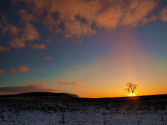 Sunset at MSU Farms (nelhiebelv) Tags: field michiganstateuniversity farm cloudsstormssunsetssunrises