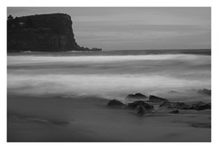 Rocky (Aviator195) Tags: ocean longexposure sea blackandwhite beach monochrome rock cool interesting sand nikon rocks exposure surf waves sydney wave australia monochromatic nd beaches avalon headland pittwater northernbeaches ndfilter avalonbeach d7100 nikond7100 exposureporn
