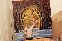 A little touch of colors to beat the winter blues... Acrylics on canvas, 50cmx50cm (Artist - Painter - Photographer) Tags: sunset snow game cold childhood forest outside hope child play outdoor memories enfant wonders jeux enfance