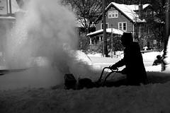 Snowzilla: Cleaning Up 1 (Jordan Barab) Tags: street blackandwhite bw snow washingtondc streetphotography sillouette takomapark snowblower snowzilla sonydscrx100markiii