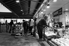 Raw Bar HERE (Beau Finley) Tags: sunset people blackandwhite fish monochrome sign canon washingtondc districtofcolumbia dusk sale shrimp vendor fishmarket monger crablegs gloaming 6d 2014 maineave swdc maineavenue rawbar beaufinley