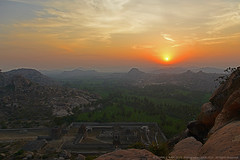 UNITED COLOURS OF INDIA (GOPAN G. NAIR [ GOPS Photography ]) Tags: india tourism colors sunrise photography ruins colours flag indian hill empire karnataka hampi gops mathanga gopan vijayanagara gopsorg gopangnair gopsphotography
