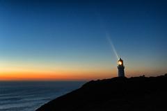 Cape Flare (Pat Charles) Tags: ocean travel sunset sea sky lighthouse tourism beach water night nikon outdoor dusk australia melbourne victoria nighttime bluehour morningtonpeninsula flinders lightrays capeschanck bassstrait westernportbay