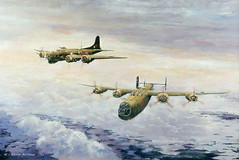 """Leslie Matthews — 100 Group Sets Out to Confound, 1997. Painting: Oil on canvas, 60 x 90 cm. City of Norwich Museum, UK. Goes well with my favorite Yeats poem, """"An Irish Airman Foresees His Death"""": I know that I shall meet my fate Somewhere among the clou (ArtAppreciated) Tags: above sky irish art nature clouds century painting airplane landscape outdoors death war poetry open contemporary aviation air fineart flight battle an literature blogs porn leslie his romantic british yeats cloudporn 1990s 20th matthews scapes wartime airman artblogs tumblr date1997 artoftheday artofdarkness foresees artappreciated artofdarknessco artofdarknessblog"""