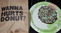 Hurts - Andes Mint Donut (Adventurer Dustin Holmes) Tags: doughnut donut donuts food sweets dessert desserts hurtsdonut hurtsdonuts andesmint mint bag text indoor sweet treat springfieldmo springfieldmissouri greenecounty missouri ozarks plate paperplate togo carryout delicious green