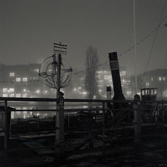 River Bank at Night (ucn) Tags: blackandwhite berlin night nacht riverbank schwarzweiss schwarzweis museumshafen planar80mmf28 rolleiflexsl66 historicalharbour maerkischesufer adotechii adoxcms20ii