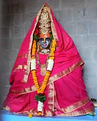 Yellamma in Pune (Shrimaitreya) Tags: pink india indian goddess mother garland crown hindu hinduism sari mata renuka devi beheaded yellamma