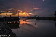 Trabucco (Federico Ticchi) Tags: sunset sky italy sun color bird lights italia tramonto watching natura emilia cielo di ferrara laguna palude comacchio oasi valli trabucco