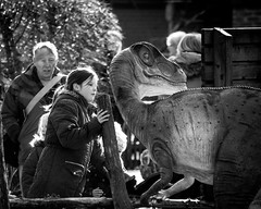 Uh! What was that? (tim-wolverson) Tags: girl dinosaur sheffield lookingback blackandwhitephotography butterflyhouse