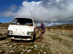 Ikaria's remotest hinterland 33 - Xenia locked out (angeloska) Tags: car junk hiking decay ikaria aegean greece february ruraldecay deforestation pezi desertification hinterland hikingtrails   langada    vrakades  opsikarias