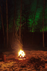 030616 - OSU firepit burning under the northern lights (Nathan A) Tags: winter snow cold green nature alaska night dark outside outdoors fire ak campfire aurora firepit fairbanks northernlights auroraborealis oregonstate salcha geomagnetic