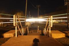 The Rochelle Diamond (CC 8039) Tags: park railroad up night illinois exposure time trains junction diamond meet bnsf rochelle
