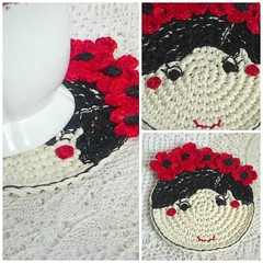 poppy girl Collage (MonikaDesign) Tags: handmade crochet homedecor tabledecor kitchendecor crochetcoaster poppydoll flowercoasters monikadesign poppycoaster redpoppygirl crochetpoppycoaster