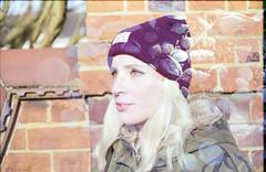 (333Bracket) Tags: sea portrait sun shells london film girl hat self 35mm eyes exposure shine bricks double fd50mmf18 blonde analogue canonae1 333bracket