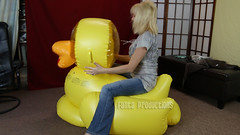Buddah Playing with the Large Inflatable Duck (Fanta_Productions) Tags: inflatables bouncing inflatableduck inflatablesfetish