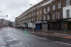 Camden Road (Gary Kinsman) Tags: christmas london wet architecture clouds grey quiet camden empty overcast georgian desolate camdentown christmasday urbanlandscape townhouses nw1 camdenroad 2015 topographics canon35mmf2 newtopographics canoneos5dmarkii canon5dmkii