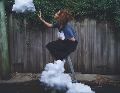 Please can I have some more ? (elliftheartist) Tags: selfportrait clouds outdoors dreamy ladder whimsical fineartphotography surrealphotography conceptualphotography elliftheartist