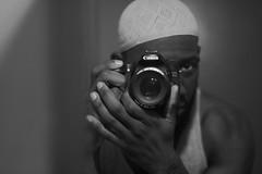 Knuckles Kinda Ashy (Explored) (Chrissy Tha Black) Tags: nyc blackandwhite bw monochrome tattoo canon lens 50mm mirror muslim islam selfie kufi melanin