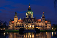 Blue and Gold (Max_D.) Tags: new city blue light sky lake reflections germany deutschland golden town hall long exposure tripod saxony hannover hour lower rathaus niedersachsen heues