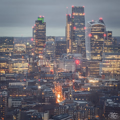 City (Umbreen Hafeez) Tags: city uk blue light england building london tower skyline architecture skyscraper buildings twilight europe cityscape outdoor dusk low east hour highrise gb gherkin complex 42 cheesegrater walkie talkie