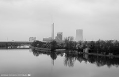 A gloomy Day at the Neckar. (andreasheinrich) Tags: blackandwhite cold river germany landscape deutschland march gloomy powerplant kraftwerk fluss kalt landschaft mrz neckar heilbronn badenwrttemberg trb blackandwhitephotos neckarsulm schwarzweis nikond7000