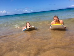 boby-boarding (d_rimbo) Tags: ocean trip travel family vacation hawaii surf wave maui springbreak gci boogieboard kihei kcr