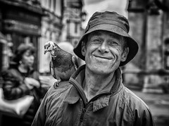 Street portrait of Paul The Birdman of Bath (Daz Smith) Tags: city uk portrait people urban blackandwhite bw streets bird blancoynegro monochrome canon paul blackwhite bath sitting pigeon candid citylife thecity streetphotography canon6d dazsmith bathstreetphotography