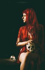Memento Mori (Simone Furia (Anomalia)) Tags: red portrait woman girl analog vintage ball nude skull 60s crystal surreal simulation sensual 70s macabre redhair mori memento obscure