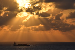 Morning Sunrays on Ocean Freighter (ChristopherSmith.Photo) Tags: ocean sea water sunrise golden boat ship bright sunrays