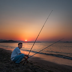 Sunset Fisherman (roseysnapper) Tags: sunset sea sky color colour beach turkey fishing fisherman wave rod canonefs1785mm canoneos40d