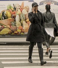 Candid Of Two Women Crossing 23rd St. Manhattan (nrhodesphotos(the_eye_of_the_moment)) Tags: girls metal fruit outdoors women outdoor candid cellphone pedestrians eden had crosswalk nrhodesphotosyahoocom wwwflickrcomphotostheeyeofthemoment dsc07951160 streetscenewomengirlstruckadvertisinggarden