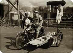 WW1 Ambulance. 1914 Royal Enfield (saxman1597) Tags: portrait england museum landscape uniform historic motorcycle nurse ww1 1914 greatwar sepiatone royalenfield stretcherbearer ramc classictransport nikond3300 nikon18300vr beamishmuseumgreatwarsteamfair