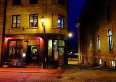 At Night in Old Montreal, Canada (` Toshio ') Tags: street city canada night corner restaurant montreal canadian sidewalk oldmontreal toshio xe2 fujixe2