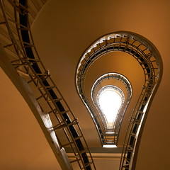 Follow the light (McQuaide Photography) Tags: city light abstract building up architecture stairs zeiss spiral europe prague pov interior sony indoor praha lookingup staircase handheld czechrepublic inside fullframe alpha oldtown praag spiralstaircase cubist lowangle c1 czechia centraleurope capitalcity 1635mm starmsto houseoftheblackmadonna eskrepublika variotessar captureone mirrorless sonyzeiss uernmatkybo mcquaidephotography a7rii ilce7rm2 captureonepro9 czechmuseumofcubism thehouseoftheblackmother