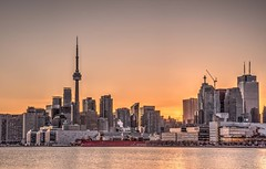 Concrete Jungle (blink to click) Tags: lakeontario cityskyline skyscrapers hdr sunset tdot downtown blinktoclick concretejungle buildings architecture cntower canada ontario toronto polson pier