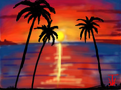 Carribean Fasty (RedRoofArt) Tags: sunset art drawing carribean palmtrees fantasy drawingbox