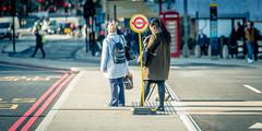 Temporary Bus Stop (Sean Batten) Tags: road street city bridge england people urban london nikon traffic unitedkingdom streetphotography busstop gb blackfriars 70200 markings telephonebox commuters d800 cyclelane temporarybusstop