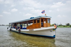 Tourist boat on the Chao Phraya river at Ko Kret, an island near Bangkok, Thailand (UweBKK ( 77 on )) Tags: trip water river thailand flow island boat asia tour bangkok sony tourist ko southeast alpha dslr chao koh 77 slt pak kret phraya kokret kohkret pakkret