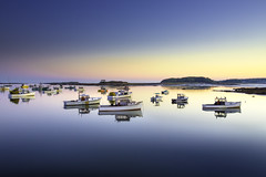 All is Calm (crabsandbeer (Kevin Moore)) Tags: sunset lighthouse seascape reflection landscape mirror harbor boat still maine calm maritime bluehour waterman kennebunk acadia lobsterboats capeporpoise